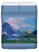 Rising Wolf Mountain And Two Medicine Lake Duvet Cover