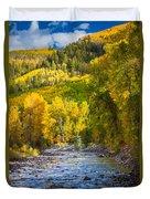River And Aspens Duvet Cover