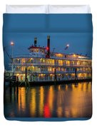 River Boat At Dusk Duvet Cover
