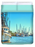 Darien Shrimp Boats Duvet Cover