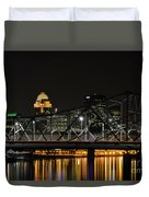 Ohio River Bridges And Louisville Skyline Duvet Cover