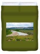 River Landscape In Northwest North Dakota  Duvet Cover