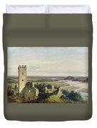 River Landscape With Castle Ruins Duvet Cover