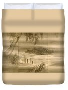 River Landscape With Fireflies  Duvet Cover