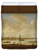 River Landscape With View Of Vianen Duvet Cover