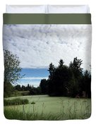 River Of Algae And Stippled Clouds Duvet Cover