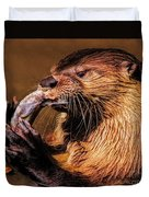 River Otter With His Catch Of The Day Duvet Cover