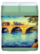 River Seine Bridge Duvet Cover
