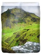 River Skoga And Green Nature In Iceland Duvet Cover