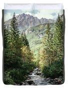 River Stream In Mountain Forest Duvet Cover