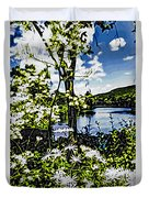 River View Through Flowers. On The Bridge Of Flowers. Duvet Cover