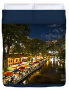 A Night On The River Walk Duvet Cover