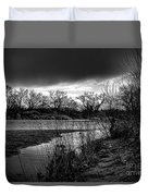 River With Dark Cloud In Black And White Duvet Cover