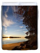 Riverbank Sunset Duvet Cover