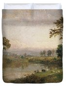 Riverscape In Early Autumn Duvet Cover