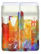 Riyadh Landmarks Watercolor Poster Duvet Cover