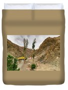 Rizong Monastery With View Of Himalayan Mountians Leh Ladakh Jammu And Kashmir India Duvet Cover