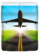 Road And Plane Duvet Cover