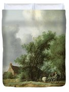Road In The Dunes With A Passenger Coach After The Rain1631 Duvet Cover