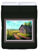 Road On The Farm Haroldsville L B With Decorative Ornate Printed Frame. Duvet Cover