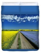 Road Through Flowering Flax And Canola Duvet Cover