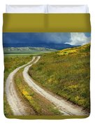 Road Through The Wildflowers Duvet Cover