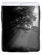 Road With Early Morning Fog Duvet Cover