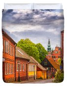 Roads Of Lund Digital Painting Duvet Cover