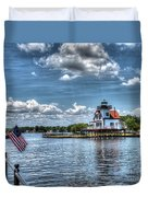 Roanoke River Lighthouse No. 2a Duvet Cover