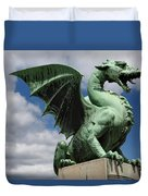 Roaring Winged Dragon Sculpture Of Green Sheet Copper Symbol Of  Duvet Cover