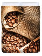Roasted Coffee Beans In Drawer And Bags On Table Duvet Cover