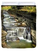 Robert H. Treman State Park Gorge Upper Falls Duvet Cover