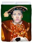 Robert Lewandowski As King Of Soccer Duvet Cover