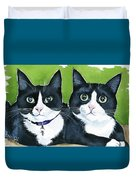 Robin And Batcat - Twin Tuxedo Cat Painting Duvet Cover
