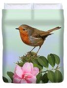 Robin And Camellia Flower Duvet Cover