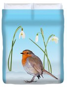 Robin And Cold Snowdrops Duvet Cover