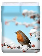 Robin And Cotoneaster With Snow Duvet Cover