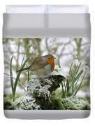 Robin And Snowdrops Duvet Cover