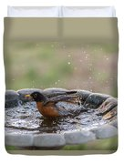 Robin In Bird Bath New Jersey  Duvet Cover