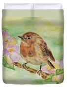 Robin In Flowers Duvet Cover