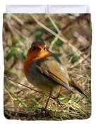 Robin In Hedgerow 2 Inch Donegal Duvet Cover