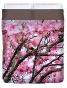 Robin In Magnolia Tree Duvet Cover