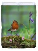 Robin In Spring Wood Duvet Cover