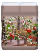 Robin On Holly Twigs Duvet Cover