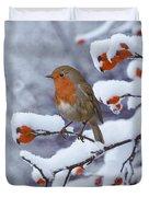 Robin On Snow-covered Rose Hips Duvet Cover