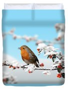 Robin On Snowy Cotoneaster Duvet Cover