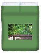 Robin On The Backyard Fence Duvet Cover