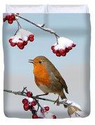 Robin On Winter Cotoneaster Duvet Cover