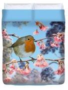 Robin On Winter Flowering Plum Duvet Cover