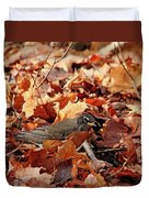 Robin Playing In Fallen Leaves Duvet Cover